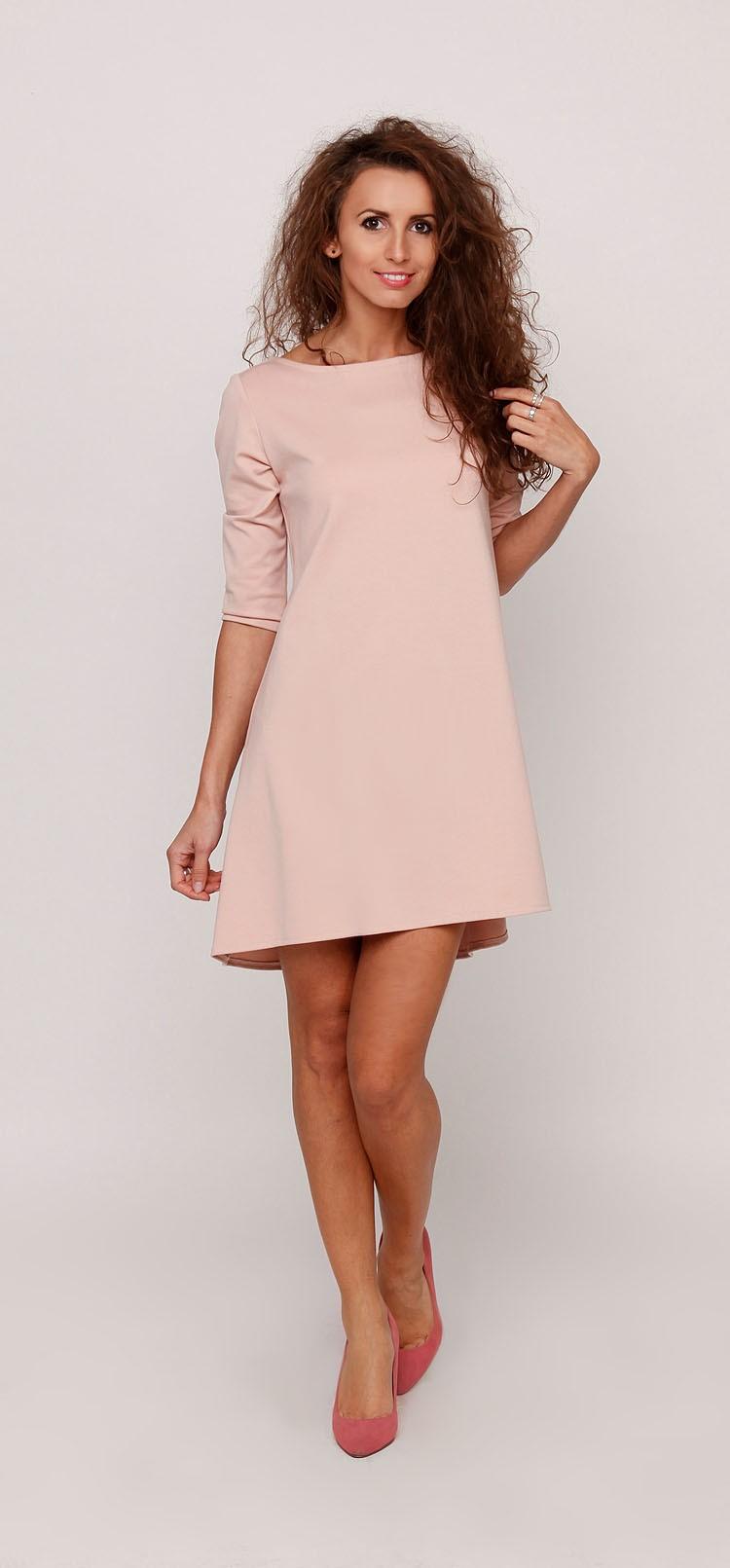 8c561981b0 Sukienka trapezowa oversize DEJZI pudrowo różowa