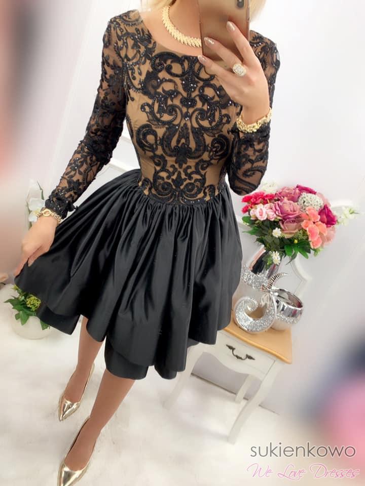 ANASTASIA Sukienka rozkloszowana z koronką czarna PREMIUM