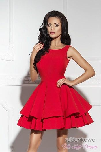 469aa36847 AUDREY - podwójnie rozkloszowana sukienka czerwona