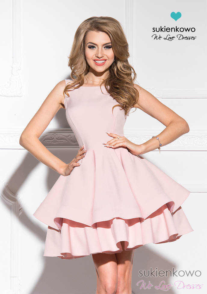 AUDREY podwójnie rozkloszowana sukienka różowa