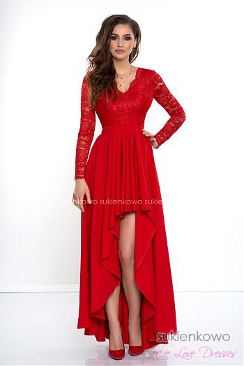 d21cdbdc97 AURORA - Długa asymetryczna sukienka z koronką i długim rękawem czerwona ...