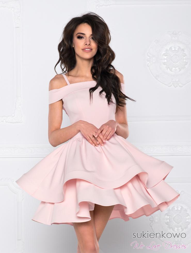 BLANCHE Podwójnie rozkloszowana sukienka bez ramion różowa