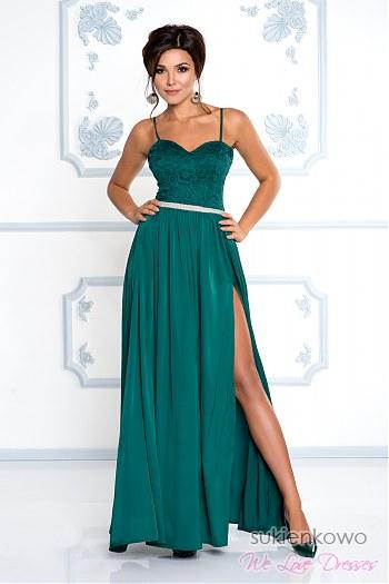 a67c581deb CELIN - długa sukienka z rozcięciem na nodze butelkowa zieleń ...