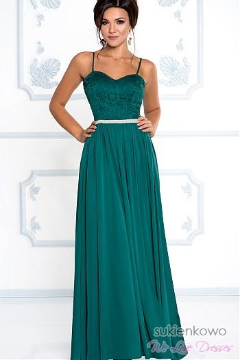 06c35bc882446 ... CELIN - długa sukienka z rozcięciem na nodze butelkowa zieleń