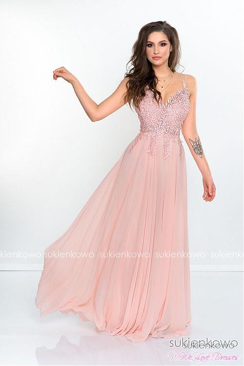 fa64c14a1b DAFNE - Długa sukienka z gipiurą rózowa