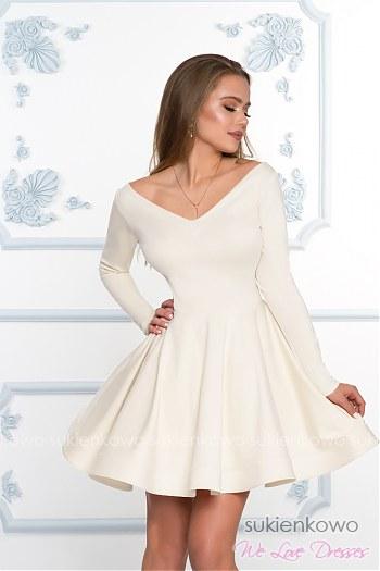 00d2a33141 DAISY - Rozkloszowana sukienka z dekoltem i długim rękawem ecru
