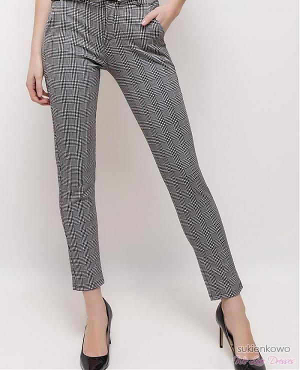 spodnie eleganckie w kratkę