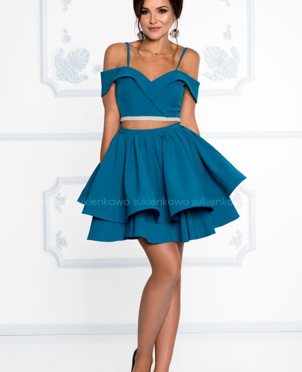W superbly GIORGIA - Sukienka komplet bluzka z spódnicą szmaragdowo morska PU15