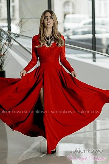 e74bb60da2 IVANKA - Długa sukienka z koronkową górą i długim rękawem CZERWONA ...