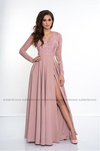 84a8ea129a IVANKA - Długa sukienka z koronkową górą i długim rękawem RÓŻOWA