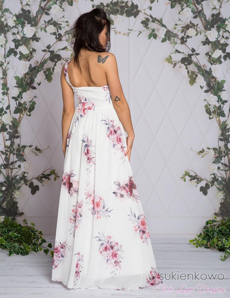 LENA Długa sukienka na jedno ramię w kwiaty