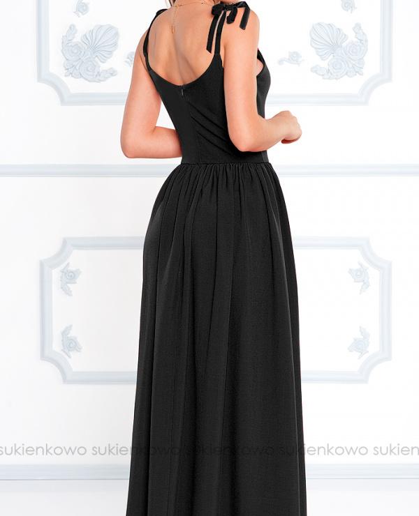 a34a62b20b LIU - Długa sukienka z siateczkowym dekoltem czarna