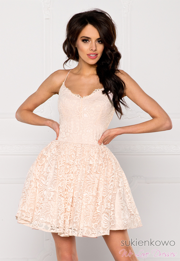 LIVIA Koronkowa sukienka na ramiączkach nude