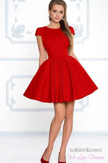 18b4a1254d04a0 NATALIA - Rozkloszowana klasyczna sukienka z rękawkiem czerwona