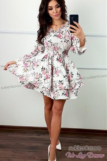 55e7ff3680 SANDRA - rozkloszowana sukienka w kwiaty z wiązaniem ...