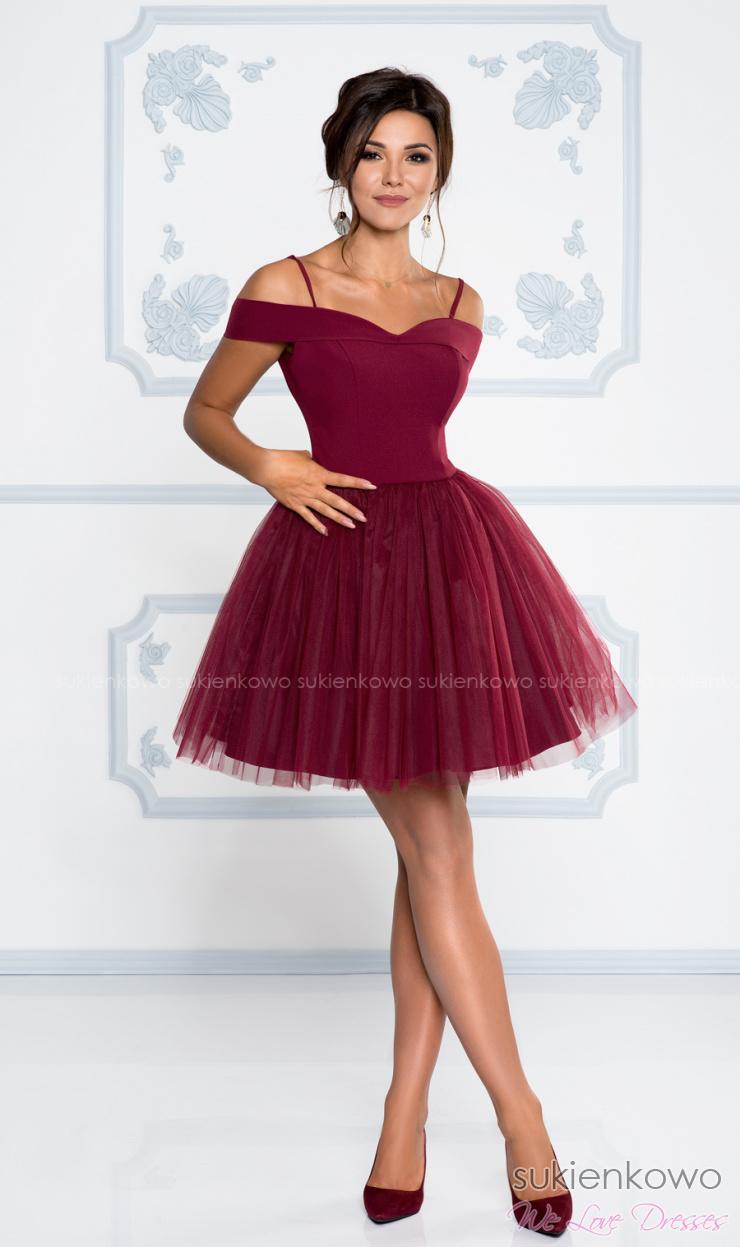 SCARLET Rozkloszowana sukienka bez ramion z tiulem bordowa