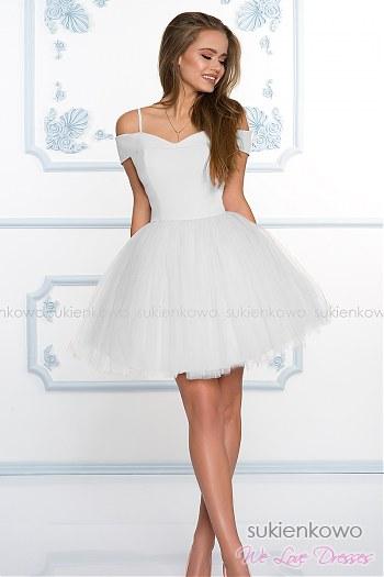 3c9bd95a36 SCARLET - Rozkloszowana sukienka bez ramion z tiulem ecru ...