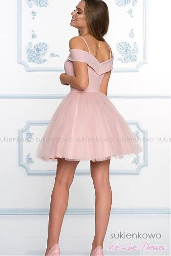 09de7ca599 ... SCARLET - Rozkloszowana sukienka bez ramion z tiulem ecru