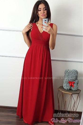 9eb3afc6d1 SENSAI - Długa sukienka z dekoltem czerwona ...