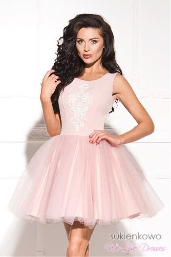 75cb4e1efb SHERRI - Rozkloszowana tiulowa sukienka z haftem różowa ...