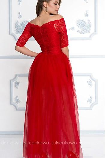 1715be3f7f ... WHITNEY - Długa tiulowo koronkowa sukienka CZERWONA
